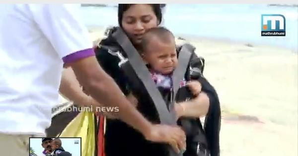 Video: Kerala parents send bawling 11-month-old infant on a parasailing ride