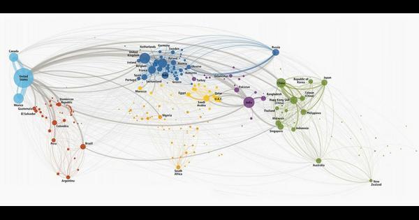 This map of international phone calls explains globalisation