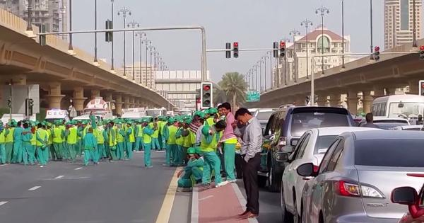 Rare protest by South Asian labourers about unpaid wages prompts Dubai to mobilise riot police
