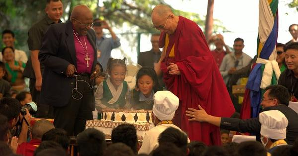 Photos: Archbishop Tutu whoops it up at Dalai Lama's 80th birthday party in Dharamsala