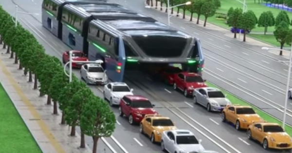 Watch: China once again unveils an elevated bus that can drive over cars