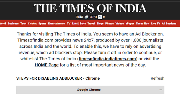 India's top news sites just don't get it: Adblockers will disappear if they simply improve their ads