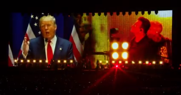 'Candidate, you're fired': Watch U2 and Bono take on Donald Trump during a live concert