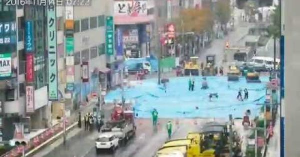 Watch: This incredible time-lapse video tracks men in Japan repairing massive sinkhole