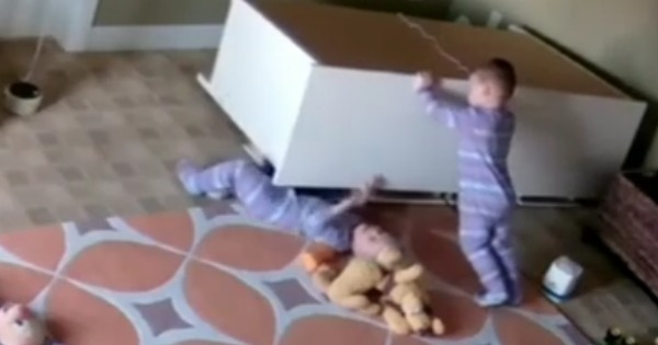 Watch: Child rescues his twin after dresser falls on him. They're both two years old