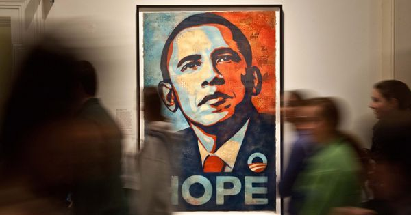New work by artist behind Obama's 'Hope' poster sets the tone for political art in Trump era