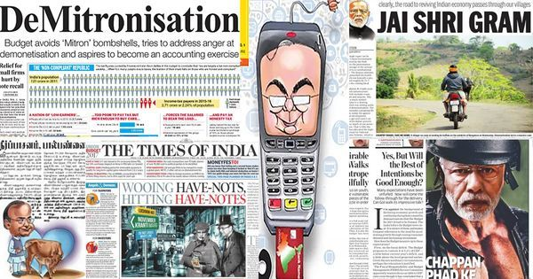 'Jai Shri Gram' and commando Modi: How front pages covered Budget 2017