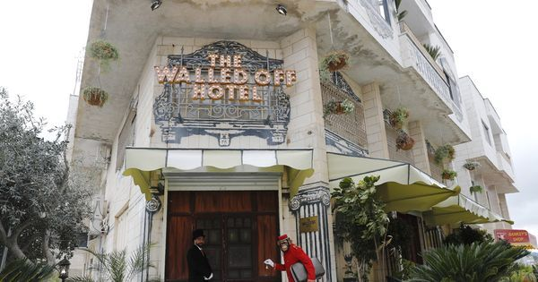 British street artist Banksy's latest artwork is 'The Walled Off Hotel' near West Bank barrier