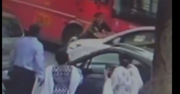 Watch: A Mumbai constable tried to run over a man because of a financial dispute. Yes, really
