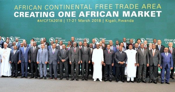 Leaders of 44 African countries sign an agreement to create a free trade area