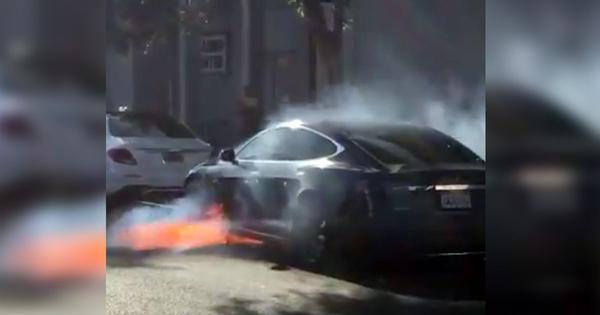 British film director's Tesla car bursts into flames in Los Angeles