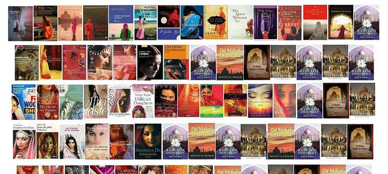 How to design the cover of a South Asian novel: include a shy woman in dupatta, the Taj, mangoes