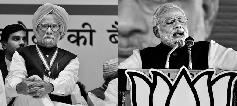 Raghu Rai captures Modi in victory, Manmohan in defeat