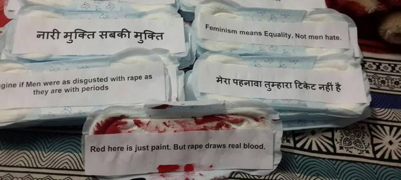 Why are sanitary pads with little notes stuck on trees and walls of Delhi colleges?