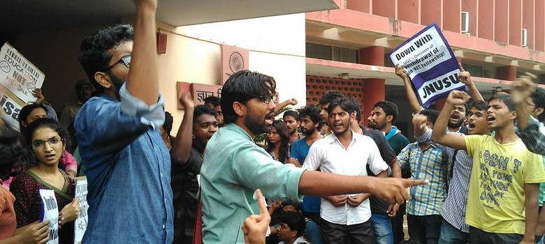 In Pictures: #OccupyUGC protests against scrapping of fellowships for PhD and MPhil students