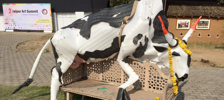 'Why fly a dead cow?': Police remove plastic cow installation and detain two artists in Jaipur