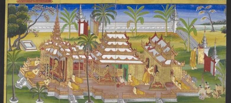 Illustrated scenes from the Buddha's life