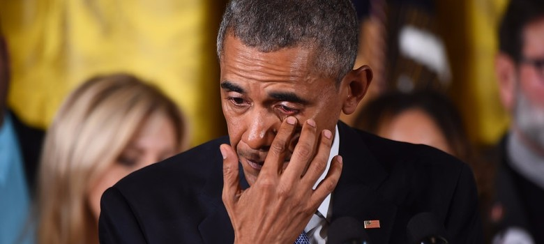 Barack Obama wipes back tears while unveiling gun control measures