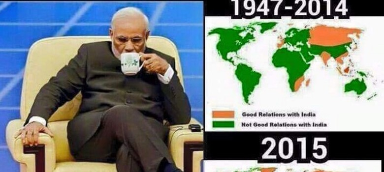 This preposterous map insists most of the world didn't like India until Narendra Modi turned up