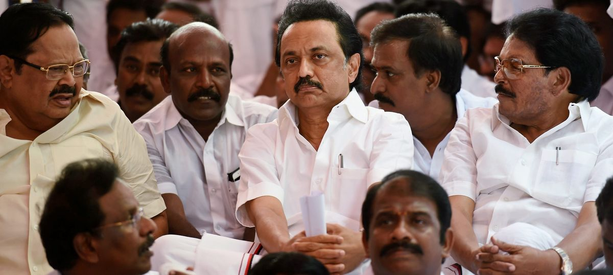 Suspended DMK MLAs hold mock Assembly session after being refused entry to party's  office