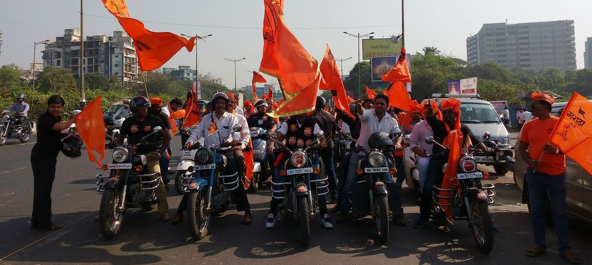 Marathas on Enfields demand reservations at silent bike rally in Mumbai
