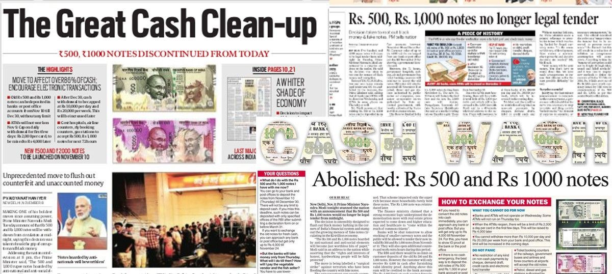 Front-page headlines: How Indian papers reported Modi's currency-note move