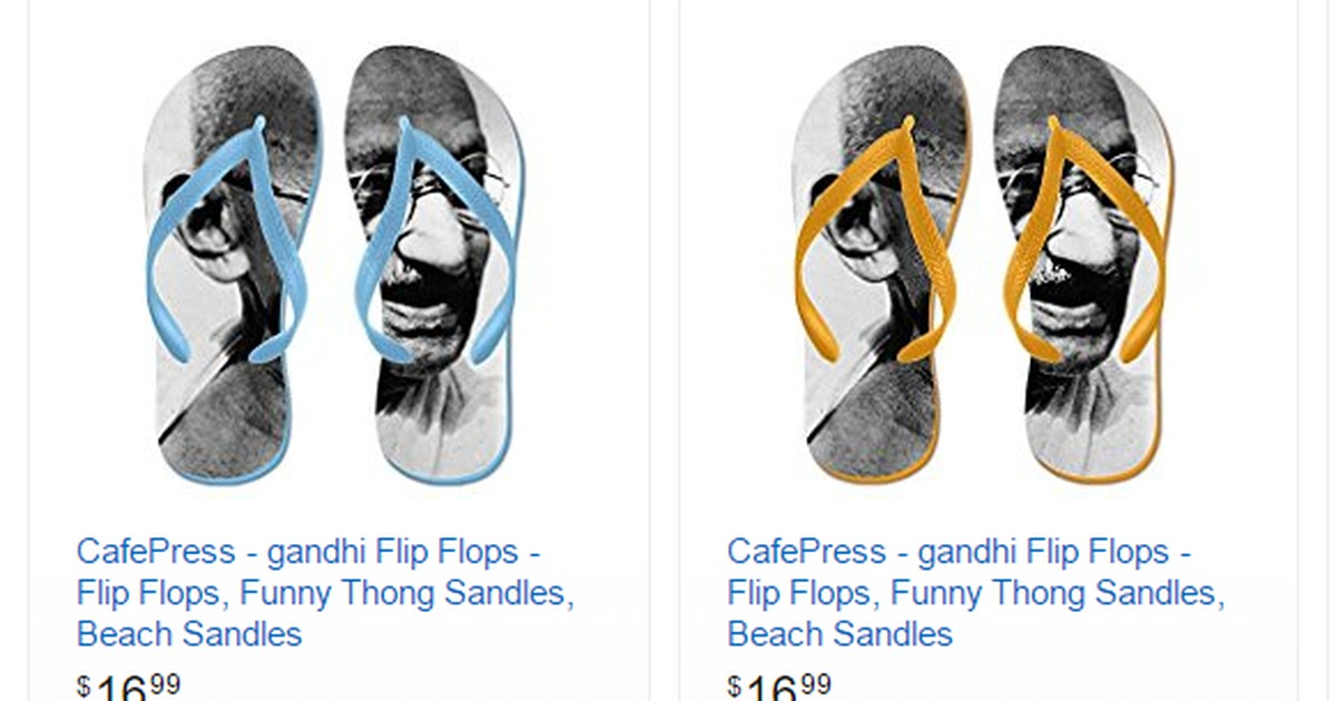 After doormat bearing tricolour, Amazon sells flip-flops with Mahatma Gandhi's image