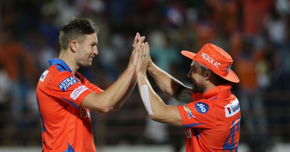 Gujarat Lions Players Celebrating During Vivo IPL 2017 Match 13: Andrew Tye's brilliance helps Gujarat Lions get their first win of IPL 10