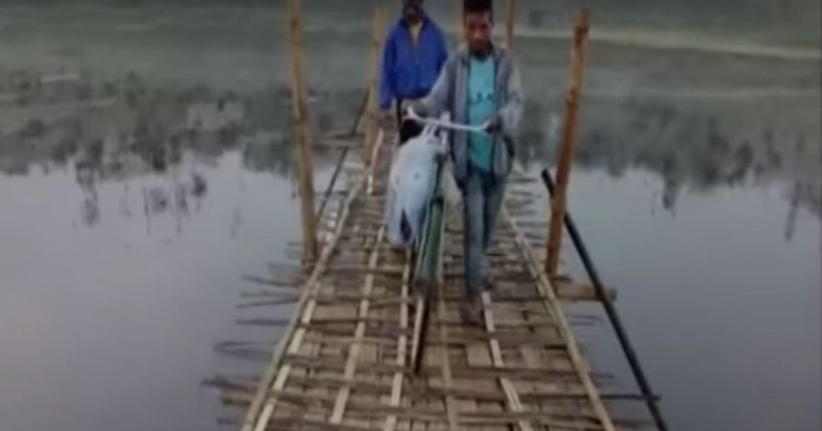 Assam man lugs body on cycle: Team probing village infrastructure falls in river as bridge collapses