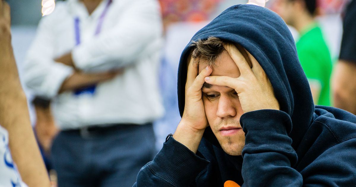 In a big slump: Magnus Carlsen a game away from losing top spot for the first time since 2011