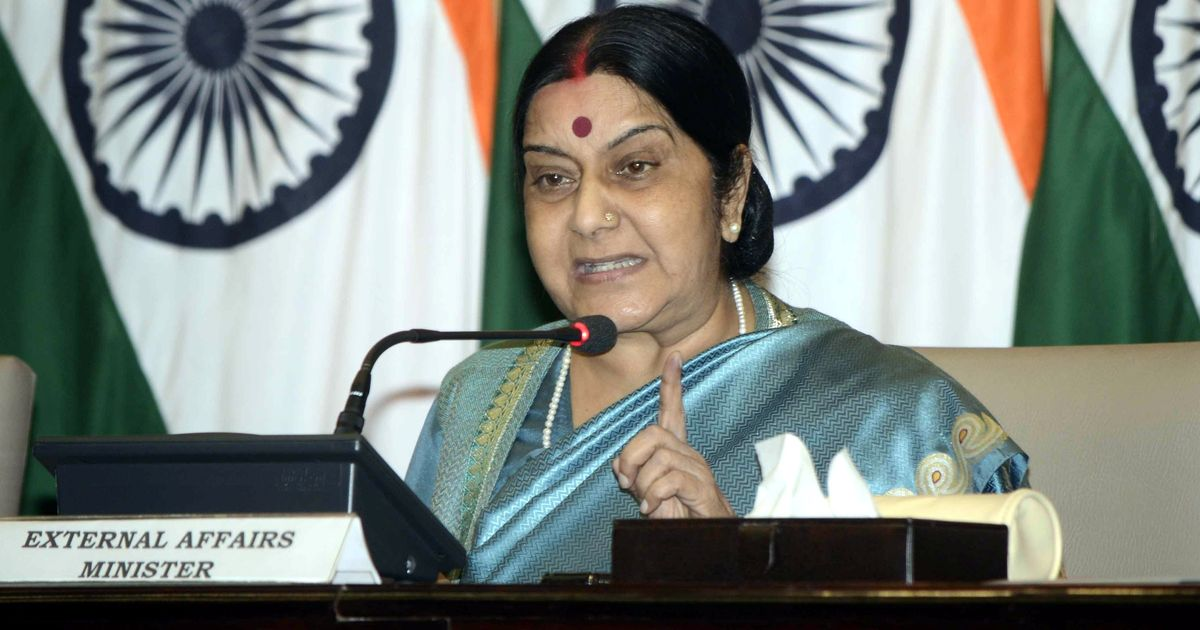 Sartaj Aziz did not acknowledge my letter seeking visa for Kulbhushan Jadhav's mother: Sushma Swaraj