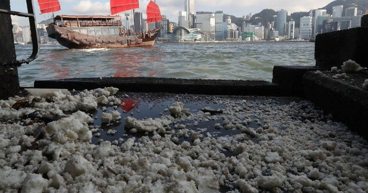 Hong Kong's beaches closed after palm oil spill leaves foul-smelling congealed lumps on its shores
