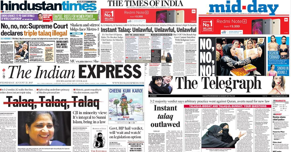 Here's what the front pages say about the Supreme Court's verdict on triple talaq