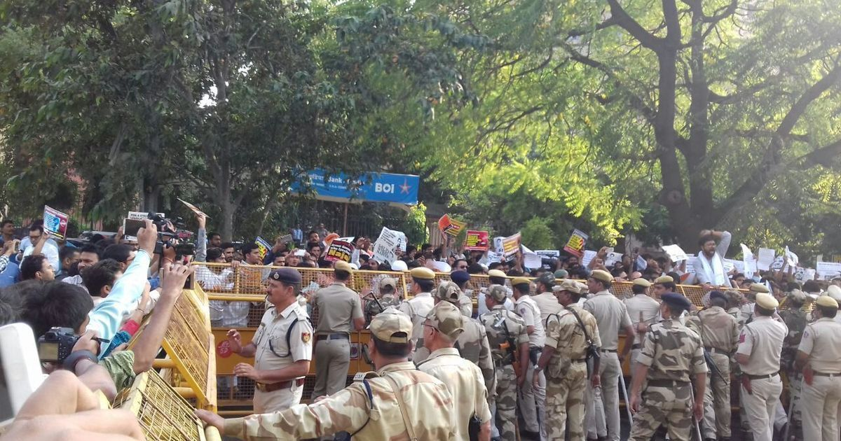 In photos: Students protest outside CBI office to demand faster inquiry in Najeeb Ahmad missing case
