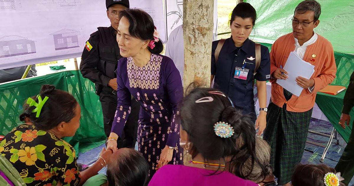 Myanmar leader Suu Kyi makes first visit to troubled Rakhine state, asks people to 'not quarrel'
