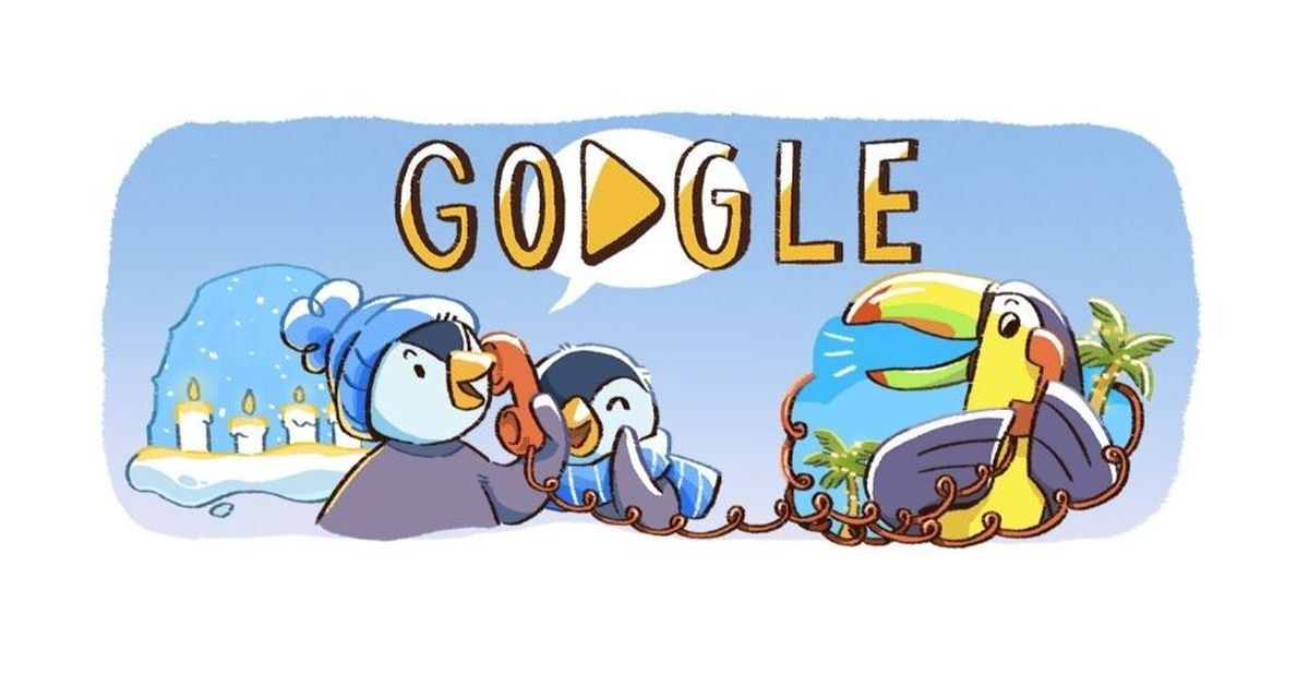 Today's Google Doodle ushers in global December festivities with penguins, parrots