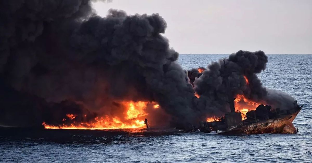 Burning Iranian oil tanker in East China Sea has sunk, all 32 crew members feared dead: Reports
