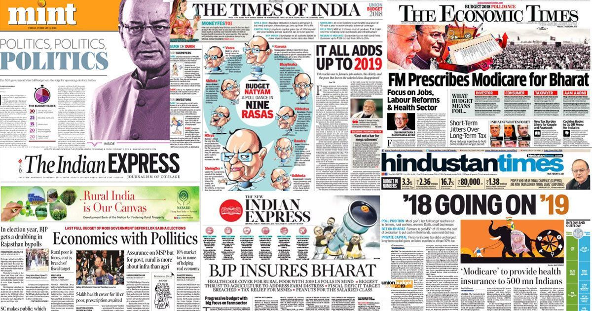 A poll dance called 'Budget Natyam': Front pages sniff 'pollitics' in Jaitley's Budget before 2019