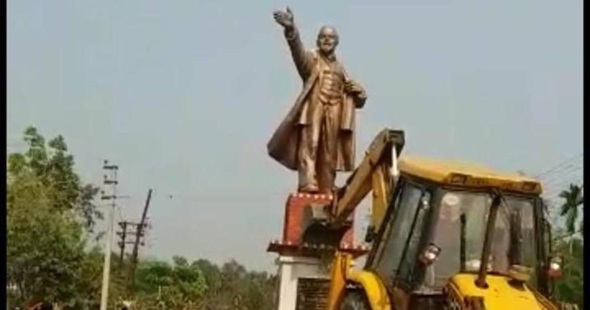 Tripura: Lenin statue knocked down in Belonia town, Left blames BJP workers