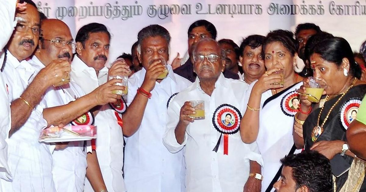AIADMK mocked after photos of alleged party cadre taking lunch break during hunger strike go viral