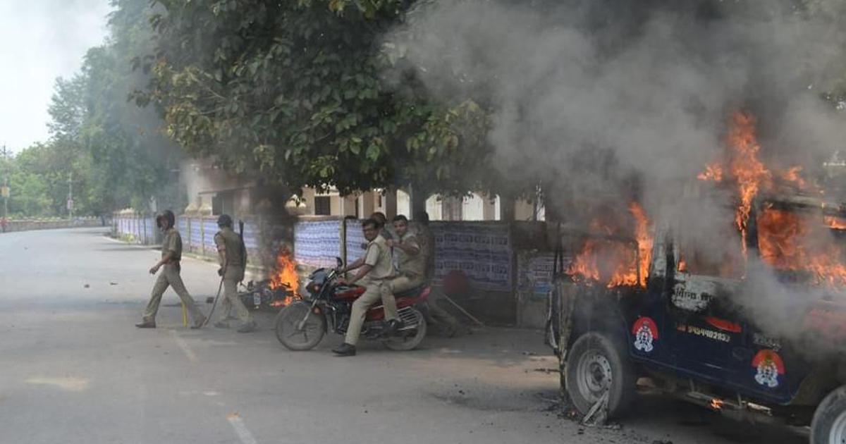 Uttar Pradesh: Violence erupts at Allahabad University as students pelt stones, set vehicles afire