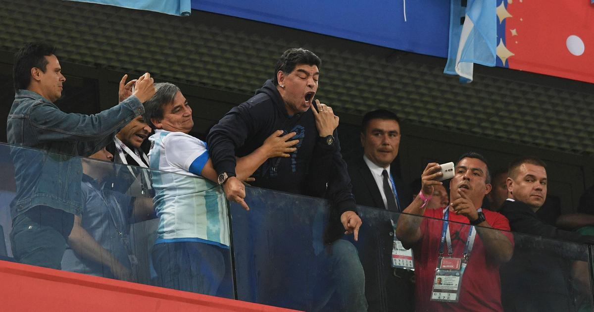 Diego Maradona receives medical treatment after wild celebrations following Argentina's win