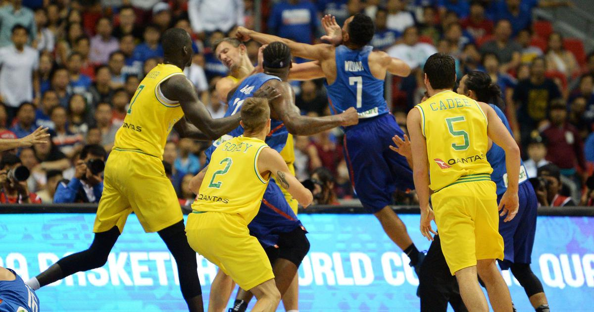 Watch: Punches, kicks, chairs fly as basketball match between Australia, Philippines ends in brawl