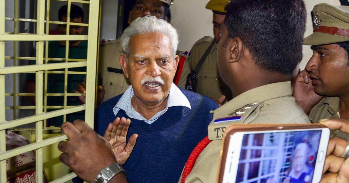 Activist Varavara Rao, under house arrest, says Pune Police's case against him is false