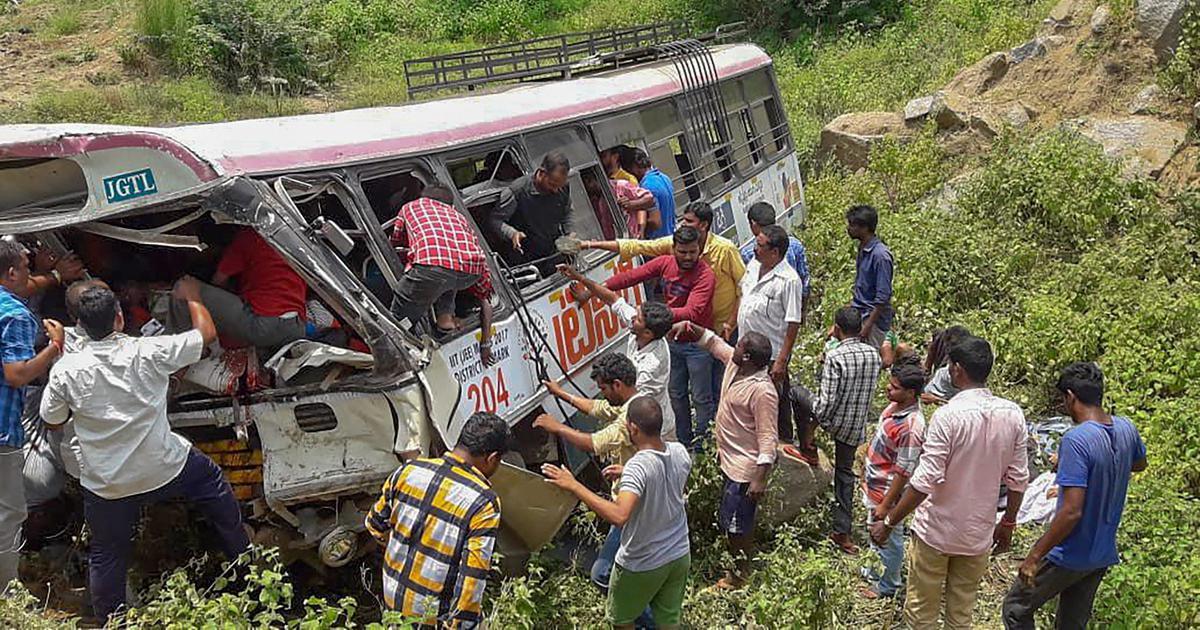 Telangana: At least 57 people die after bus falls into gorge in Jagtial district