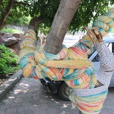 Yarn bombing: Why two Indian men are wrapping everyday objects with colourful string