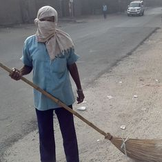 'Nothing much can be done about it': This sweeper spends his days in a cloud of dust in toxic Delhi