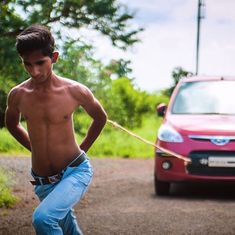 Video: A teenager from Madhya Pradesh pulls along heavy objects using just his shoulder blades